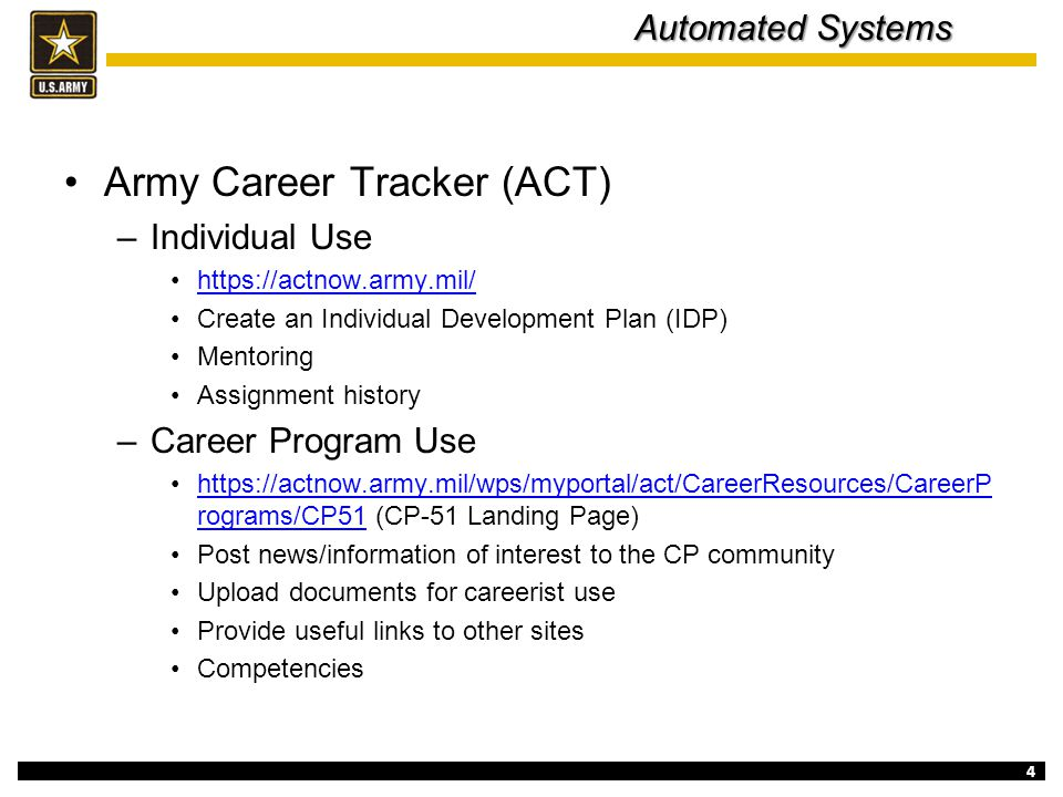Army Career Tracker (ACT)