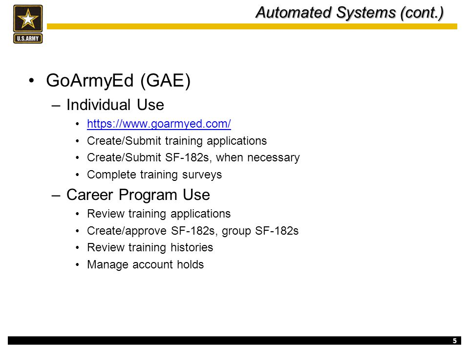 Automated Systems (cont.)