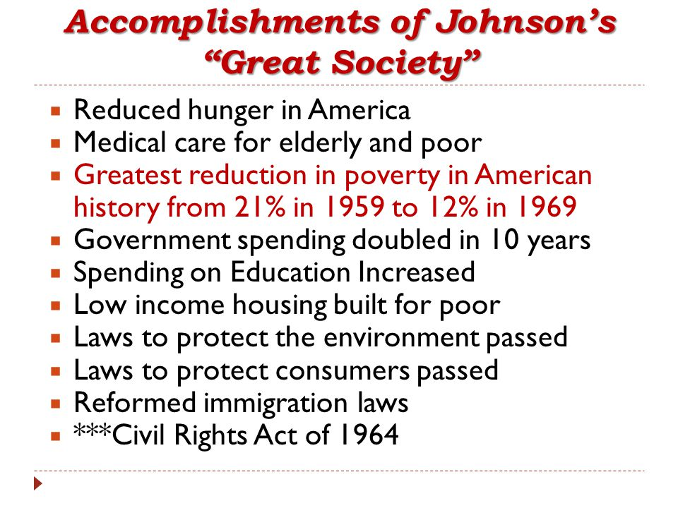 Accomplishments of Johnson's Great Society