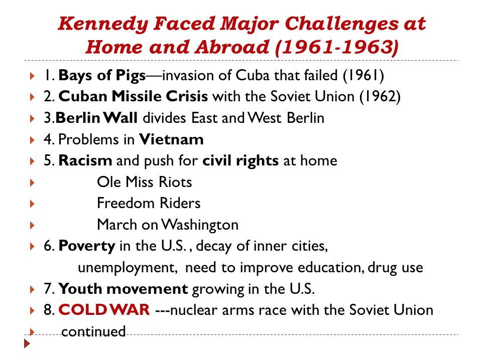 Kennedy Faced Major Challenges at Home and Abroad (1961-1963)