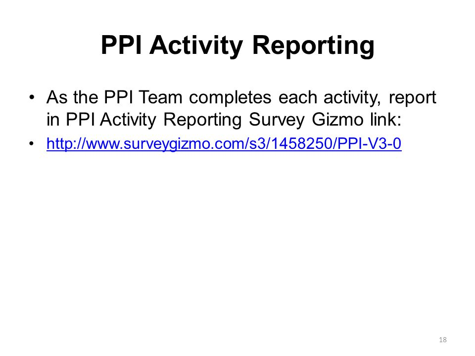PPI Activity Reporting