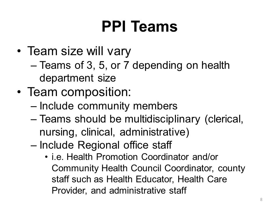 PPI Teams Team size will vary Team composition: