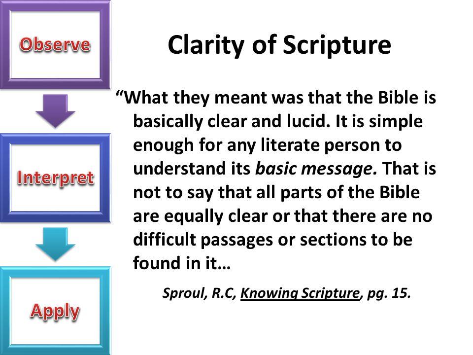 Clarity of Scripture