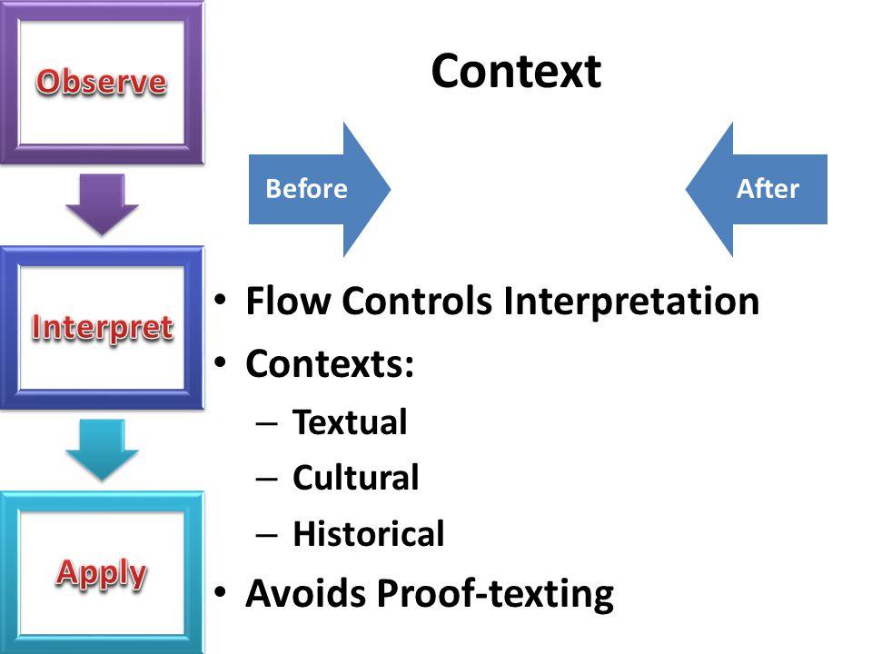 Context Flow Controls Interpretation Contexts: Avoids Proof-texting