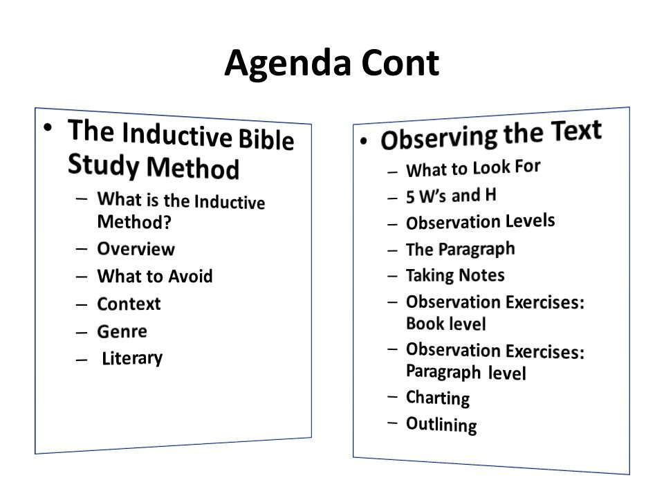 Agenda Cont The Inductive Bible Study Method Observing the Text