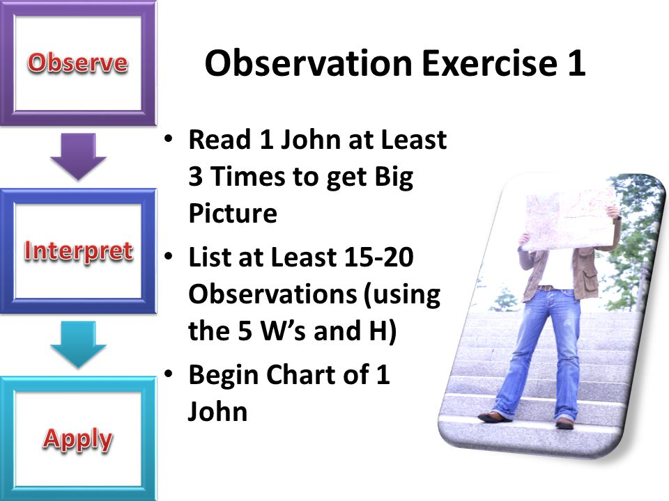 Observation Exercise 1 Read 1 John at Least 3 Times to get Big Picture
