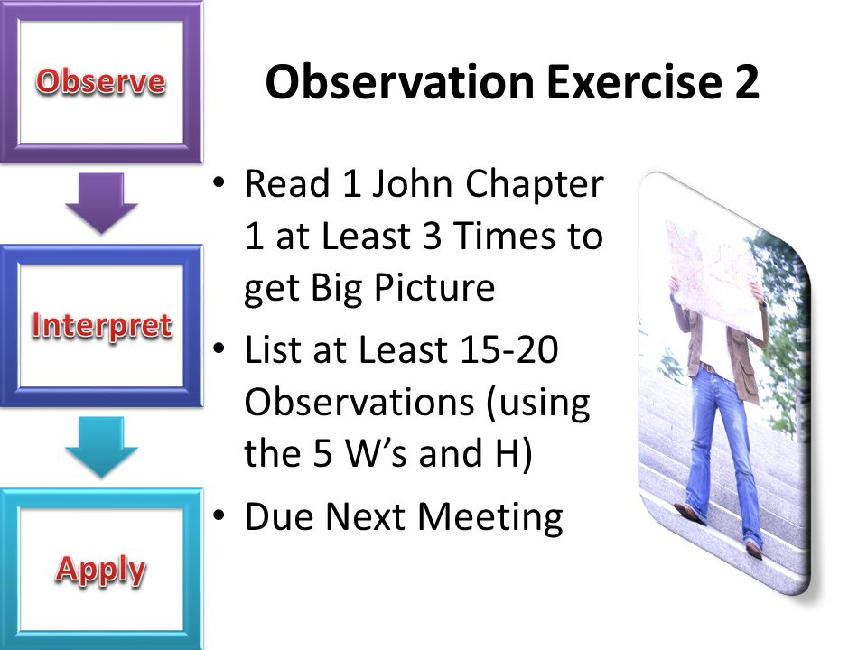 Observation Exercise 2 Read 1 John Chapter 1 at Least 3 Times to get Big Picture. List at Least 15-20 Observations (using the 5 W's and H)