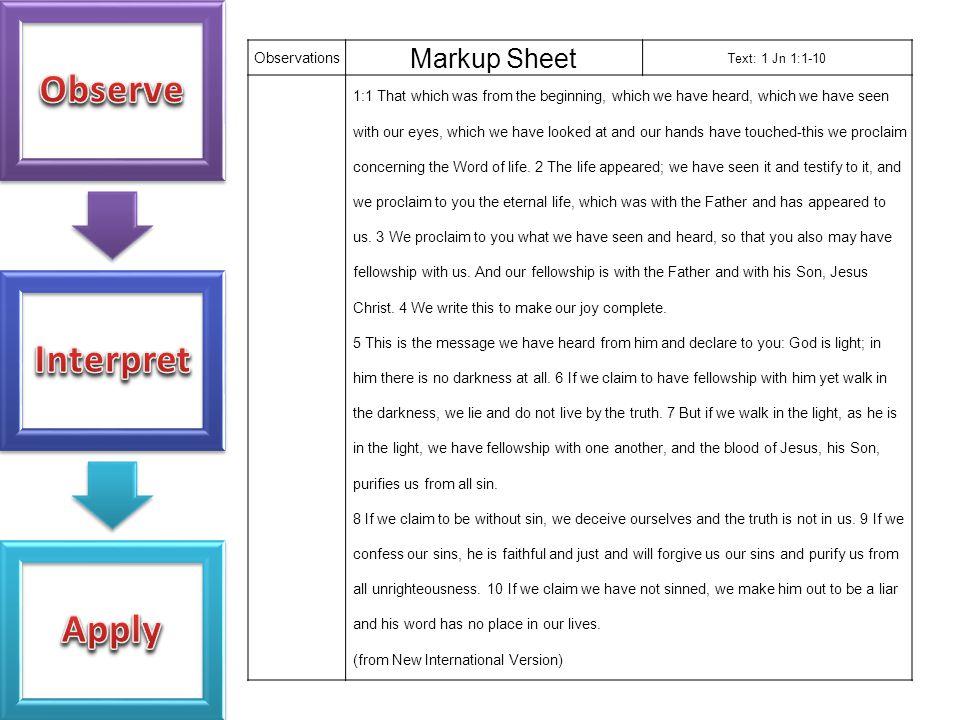 Markup Sheet Observations