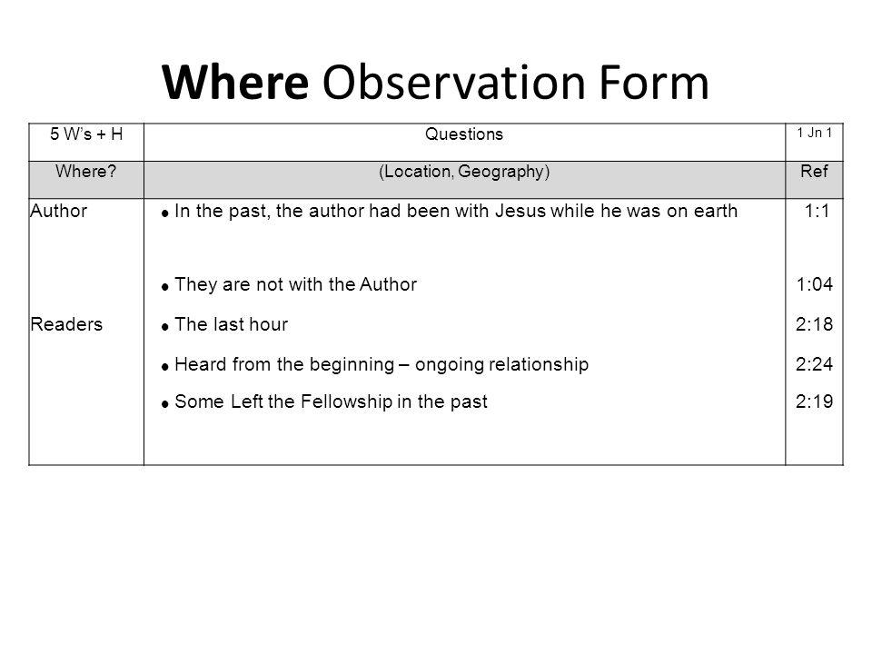 Where Observation Form