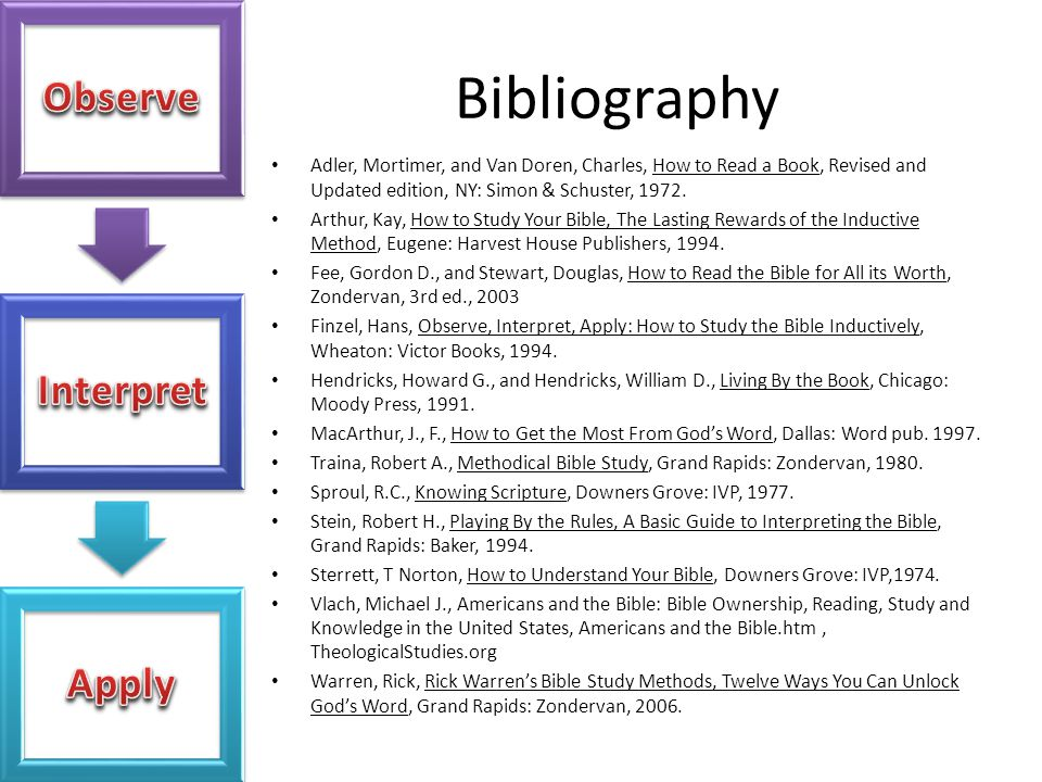 Bibliography Adler, Mortimer, and Van Doren, Charles, How to Read a Book, Revised and Updated edition, NY: Simon & Schuster, 1972.