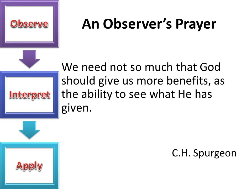 An Observer's Prayer We need not so much that God should give us more benefits, as the ability to see what He has given.