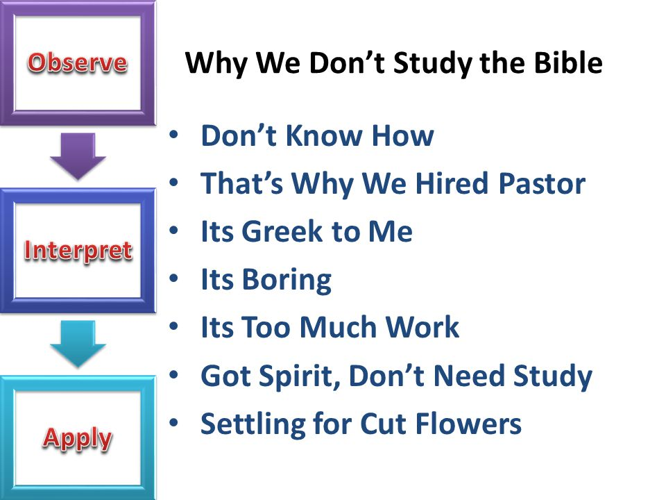 Why We Don't Study the Bible