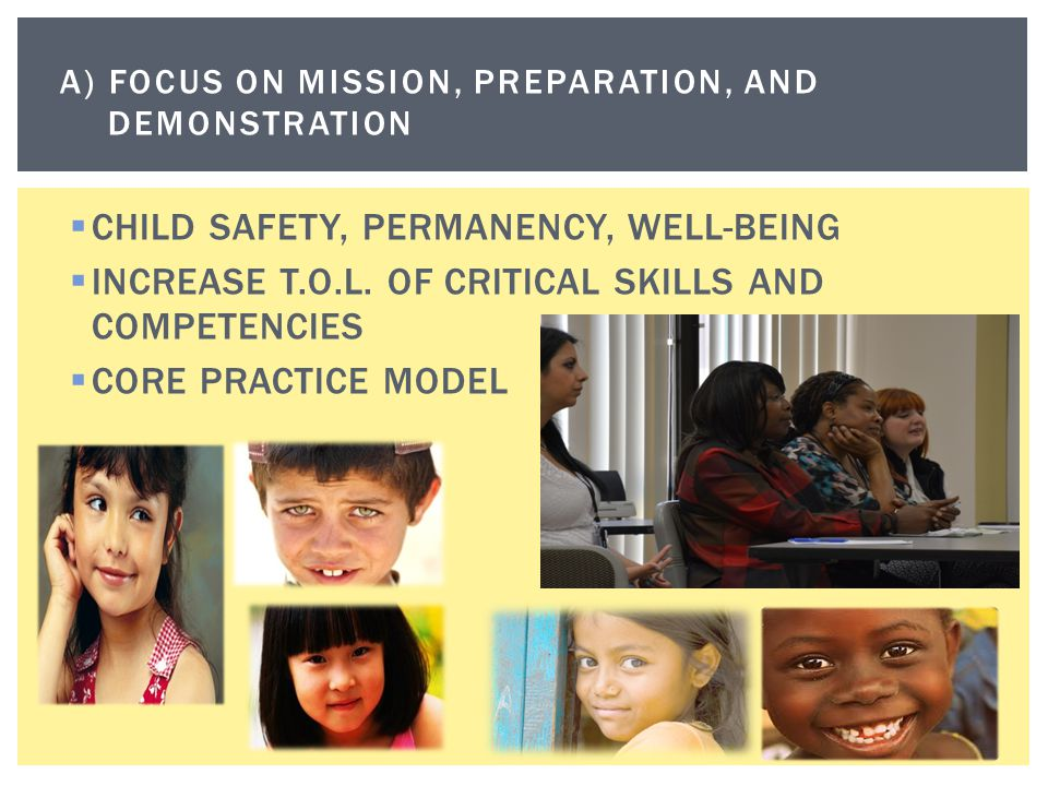A) Focus on mission, preparation, and demonstration