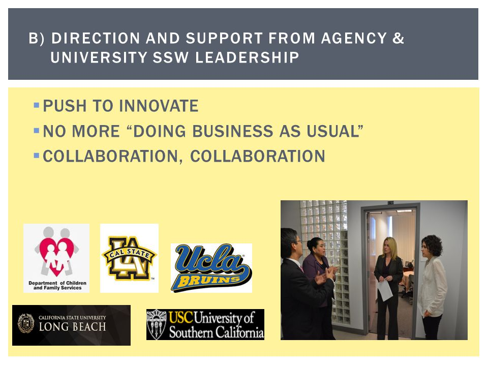 B) Direction and support FROM AGENCY & UNIVErsity SSW LEADERSHIP