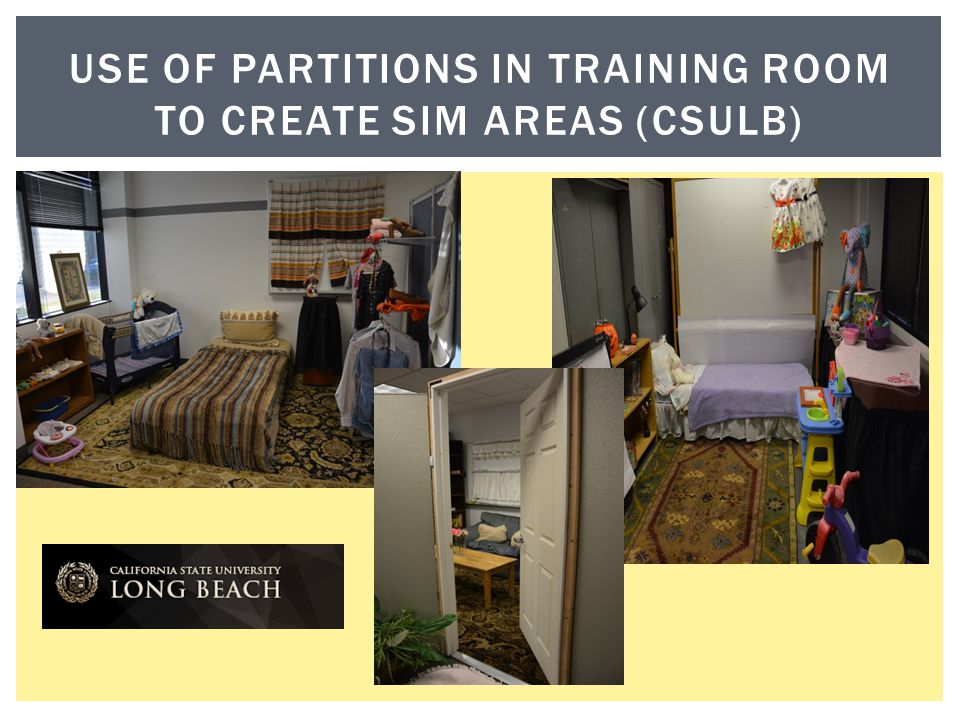 Use of partitions In training room to create sim areas (csulb)