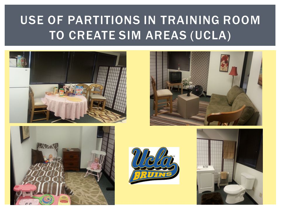 Use of partitions In training room to create sim areas (ucla)