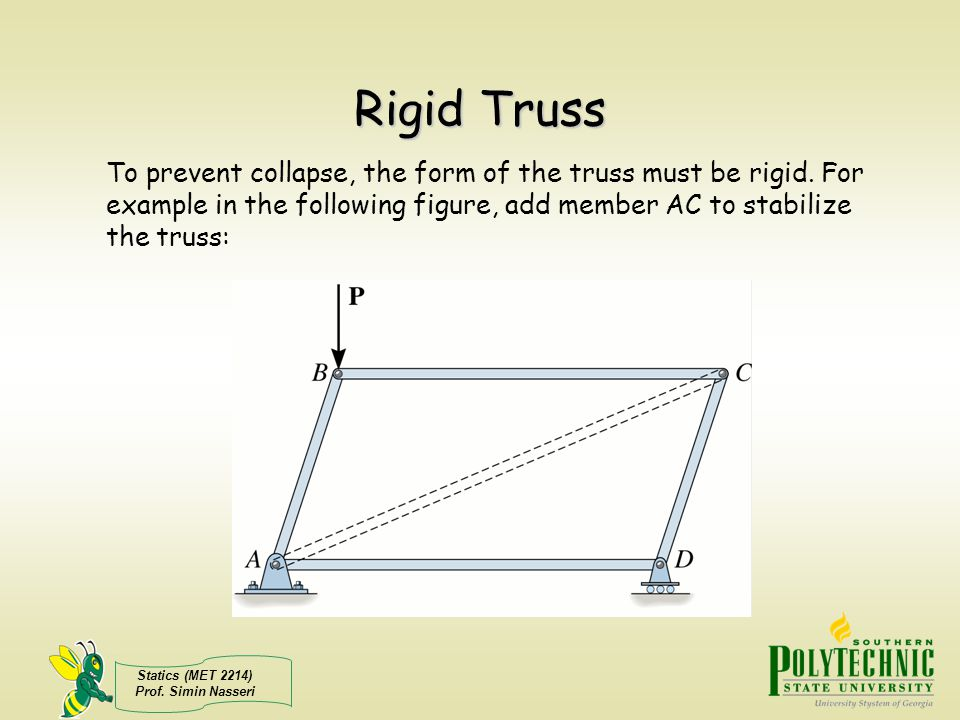 Rigid Truss To prevent collapse, the form of the truss must be rigid.