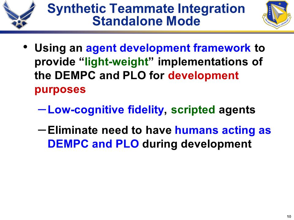 Synthetic Teammate Integration Standalone Mode