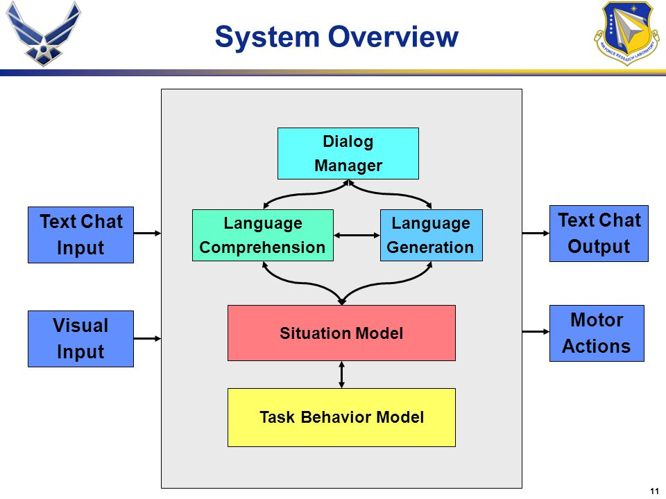 System Overview Text Chat Text Chat Input Output Motor Visual Actions