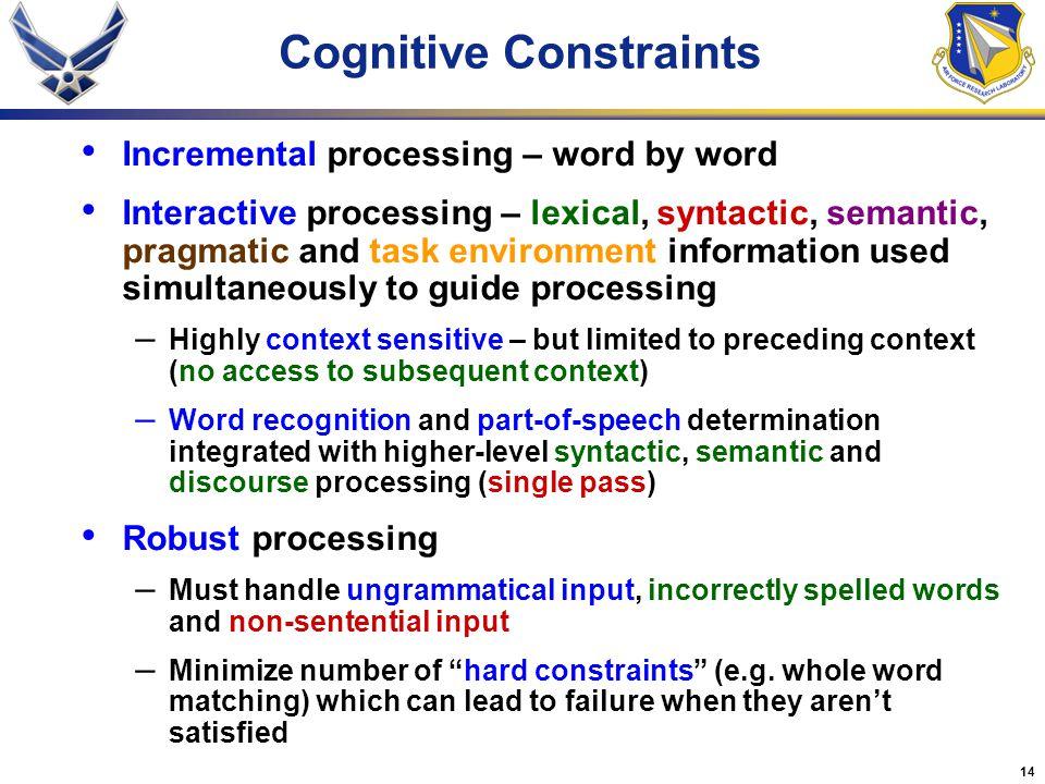 Cognitive Constraints