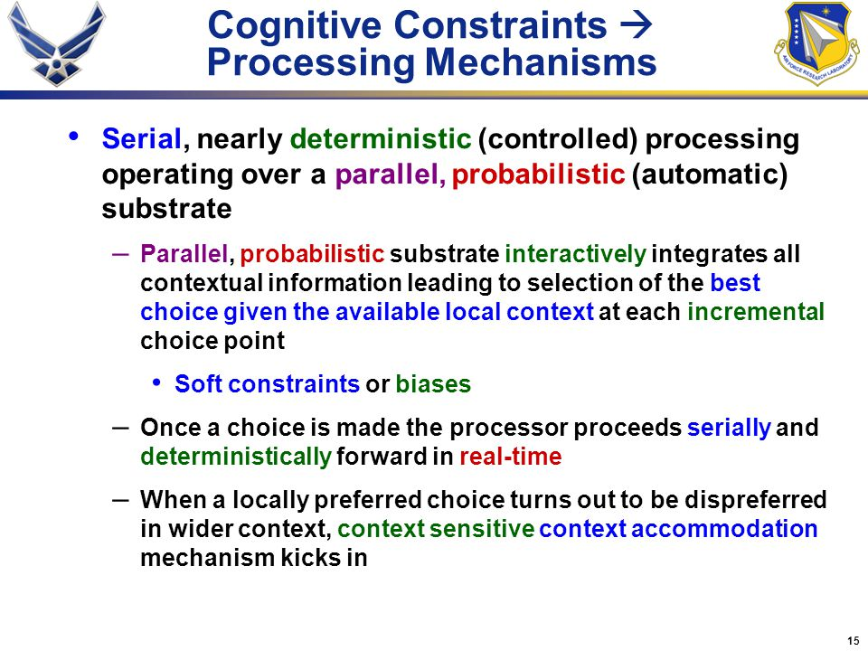 Cognitive Constraints  Processing Mechanisms