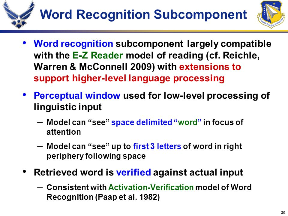 Word Recognition Subcomponent