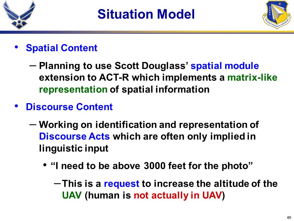 Situation Model Spatial Content
