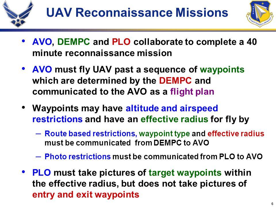 UAV Reconnaissance Missions