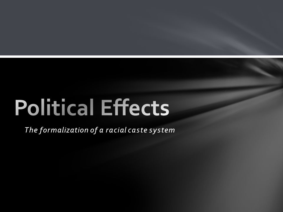 The formalization of a racial caste system