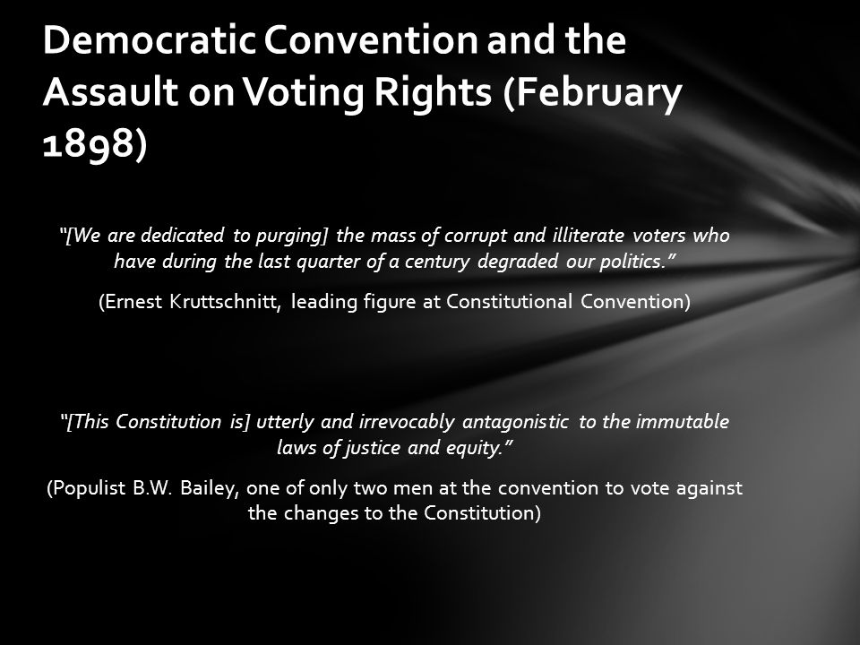 Democratic Convention and the Assault on Voting Rights (February 1898)