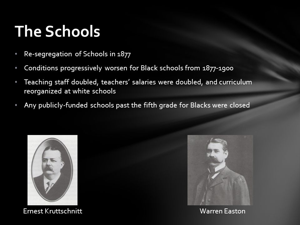 The Schools Re-segregation of Schools in 1877