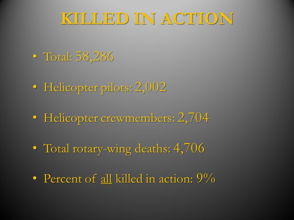 KILLED IN ACTION Total: 58,286 Helicopter pilots: 2,002