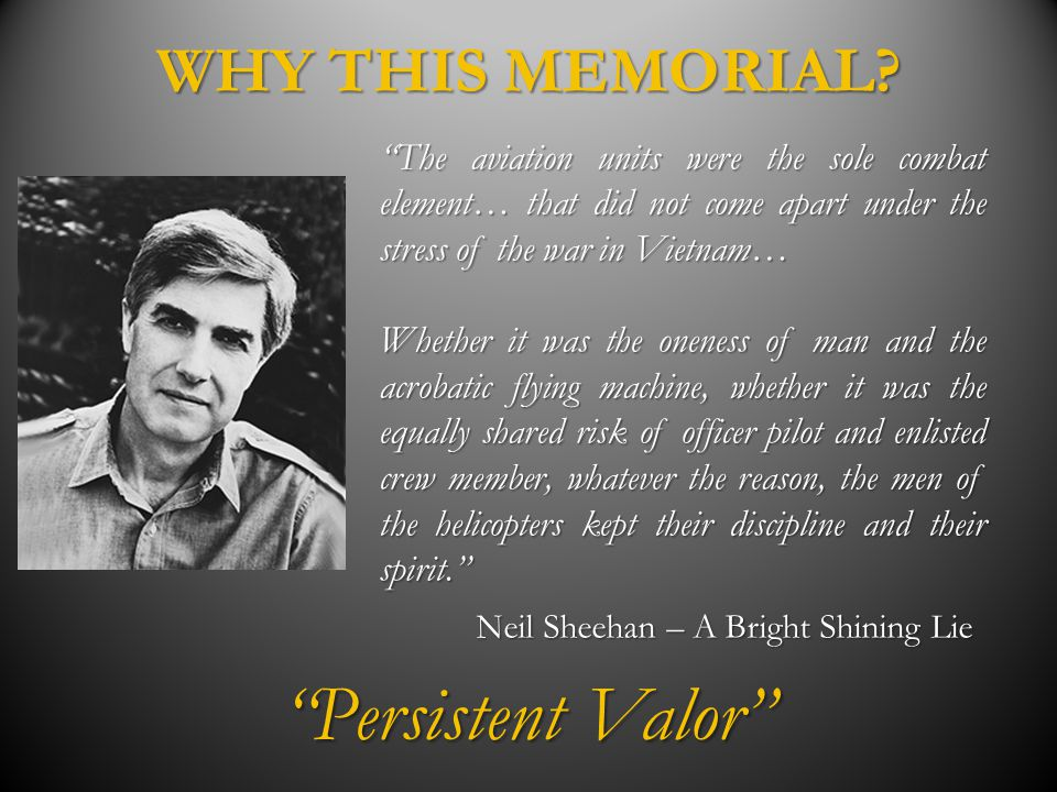 Persistent Valor WHY THIS MEMORIAL