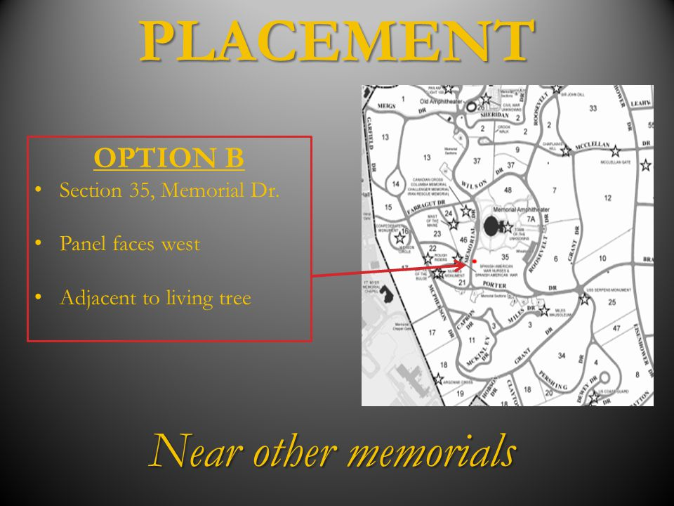 PLACEMENT Near other memorials OPTION B Section 35, Memorial Dr.