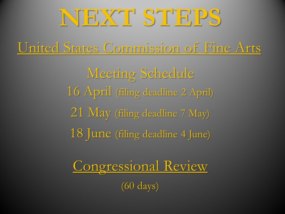 NEXT STEPS United States Commission of Fine Arts Meeting Schedule