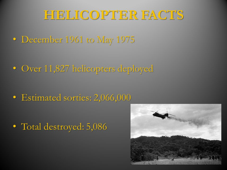 HELICOPTER FACTS December 1961 to May 1975
