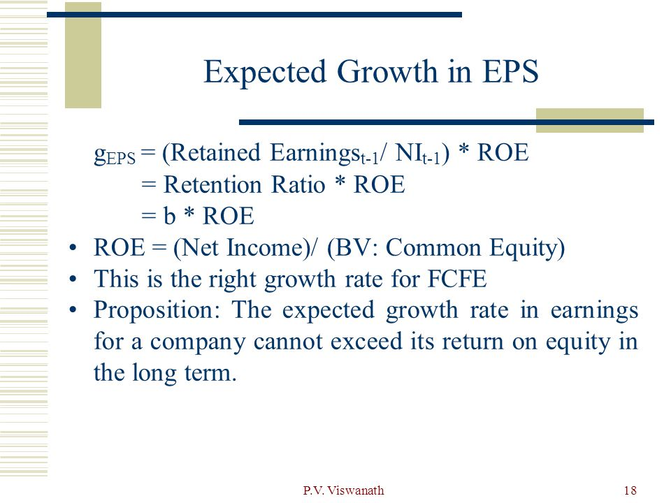 gEPS= b *ROEt+1 +{(ROEt+1– ROEt)BV of Equityt)/ROEt (BV of Equityt)}