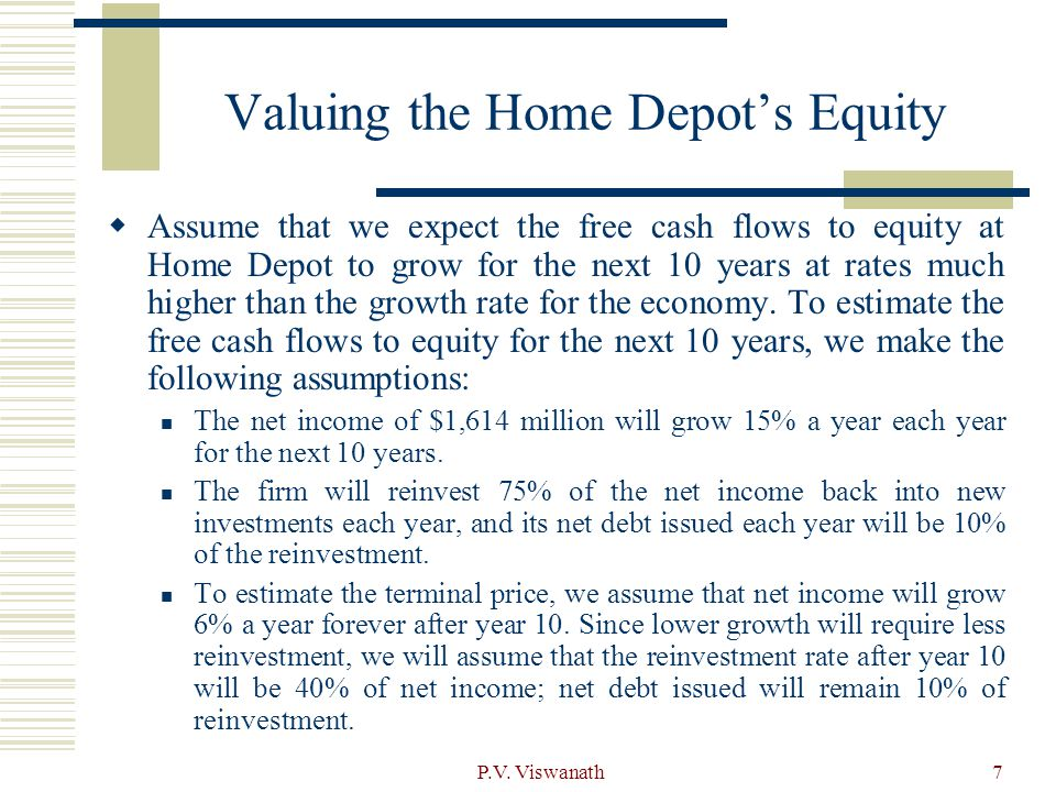 Valuing the Home Depot's Equity