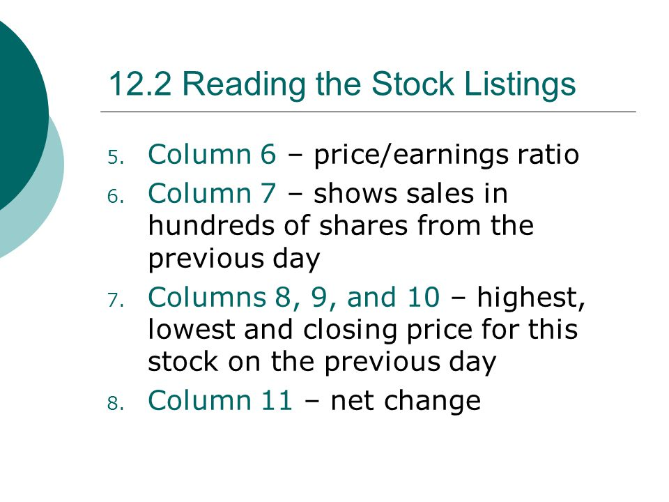 12.2 Reading the Stock Listings