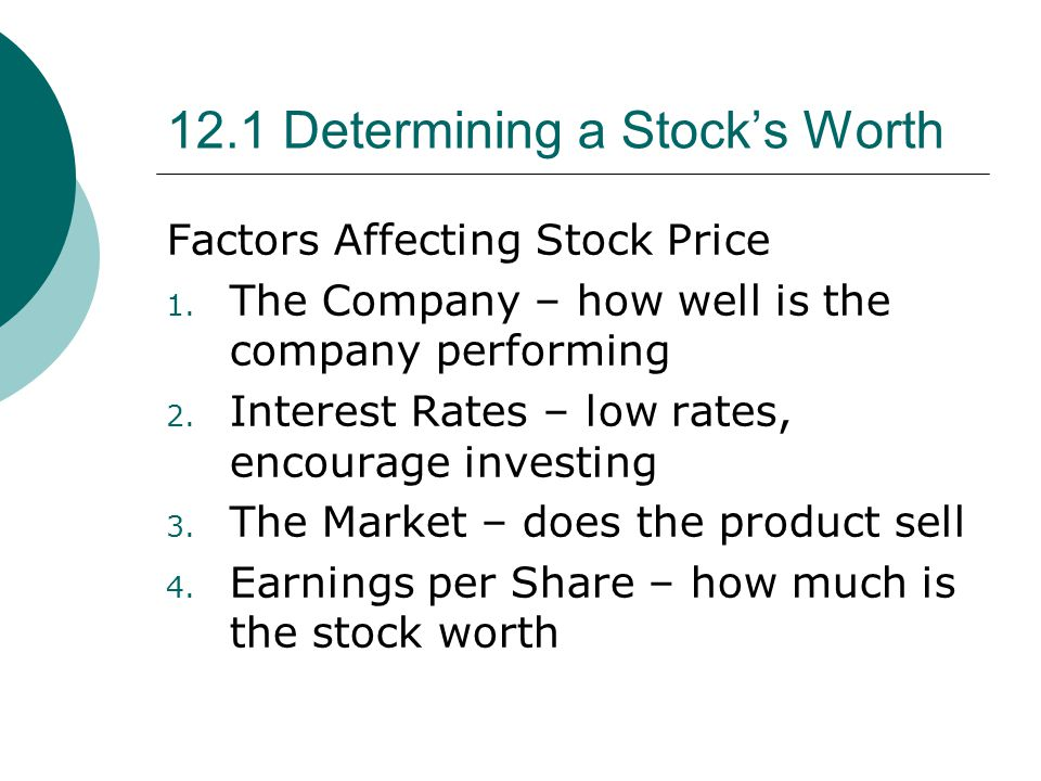 12.1 Determining a Stock's Worth