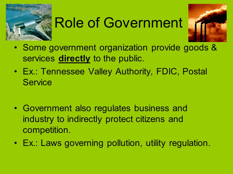 Role of Government Some government organization provide goods & services directly to the public.