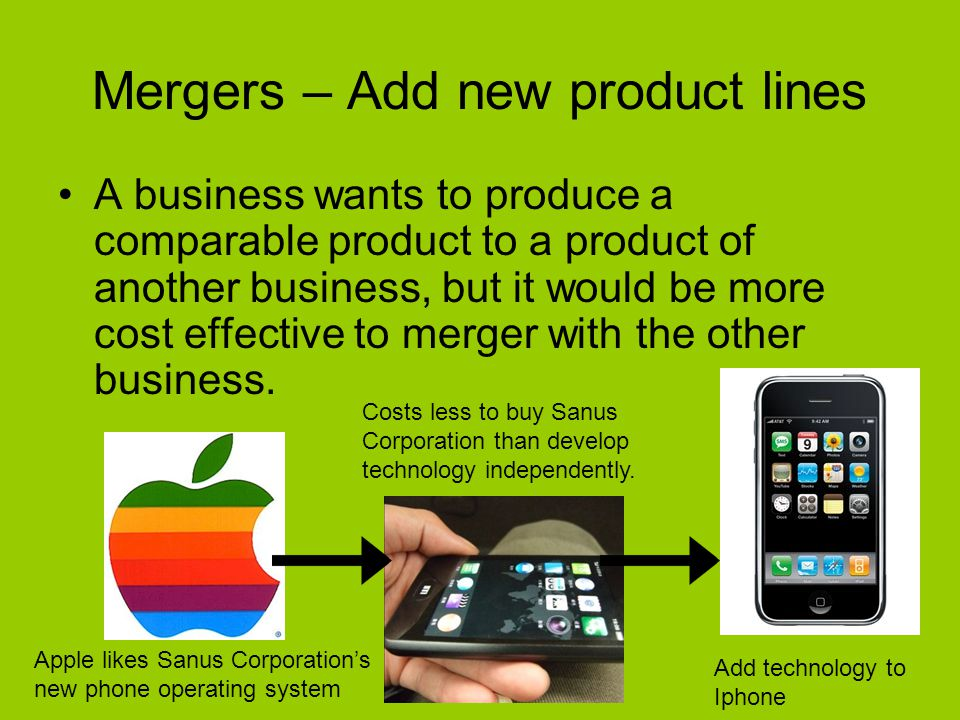 Mergers – Add new product lines