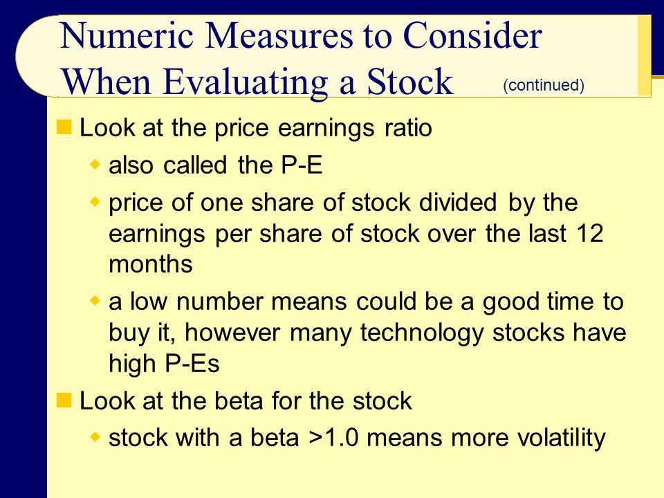 Numeric Measures to Consider When Evaluating a Stock