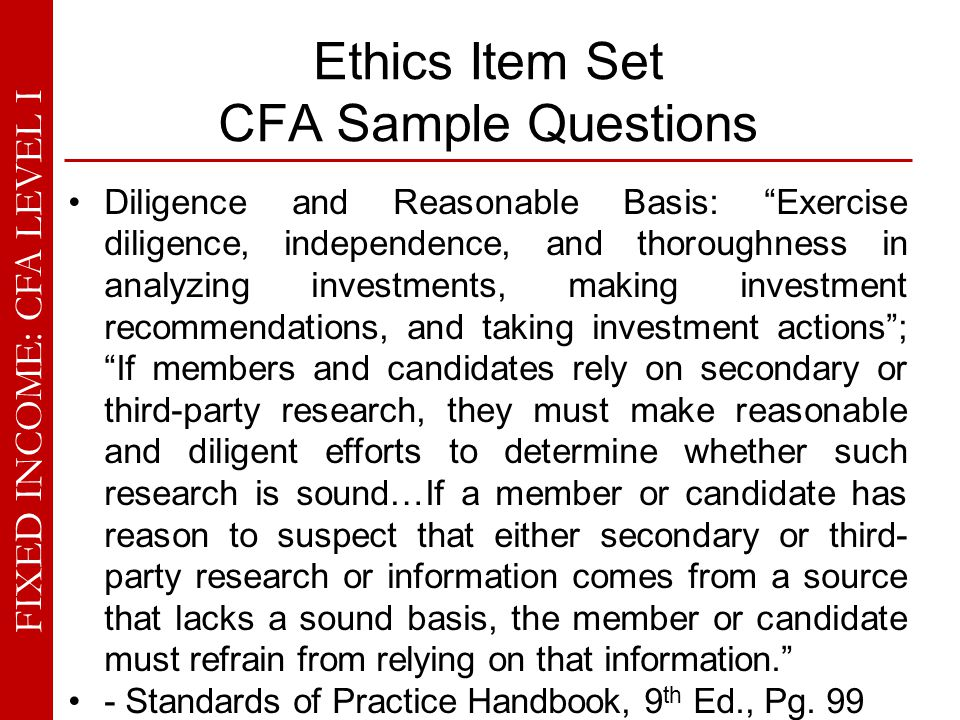 Ethics Item Set CFA Sample Questions
