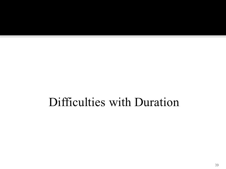Difficulties with Duration