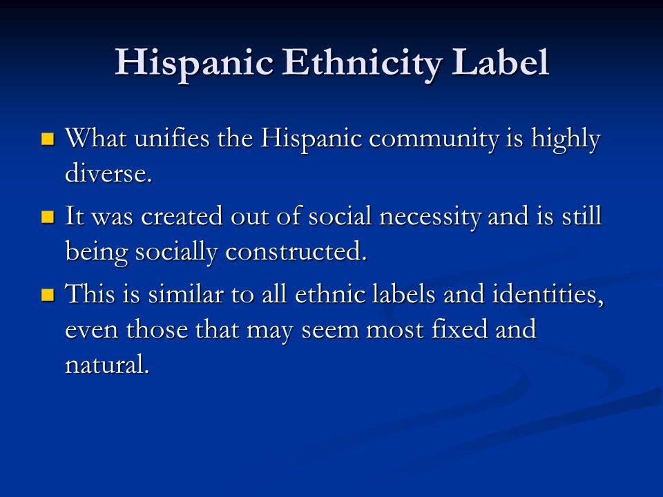 Hispanic Ethnicity Label