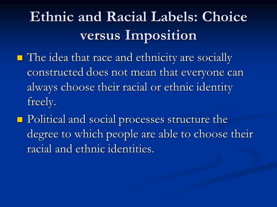 Ethnic and Racial Labels: Choice versus Imposition