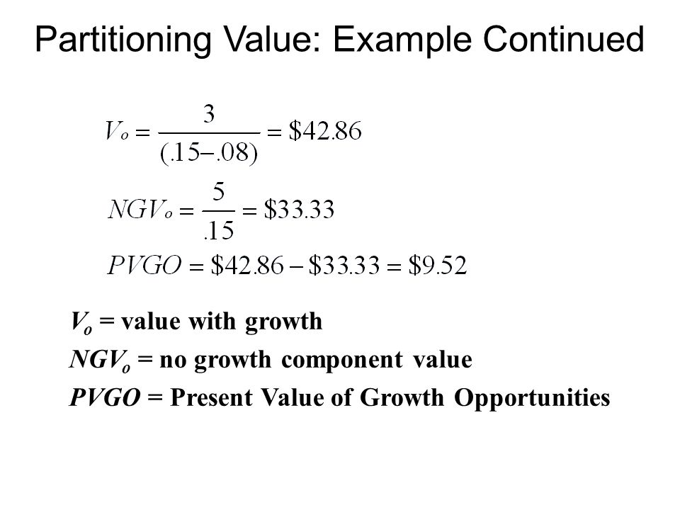 Partitioning Value: Example Continued