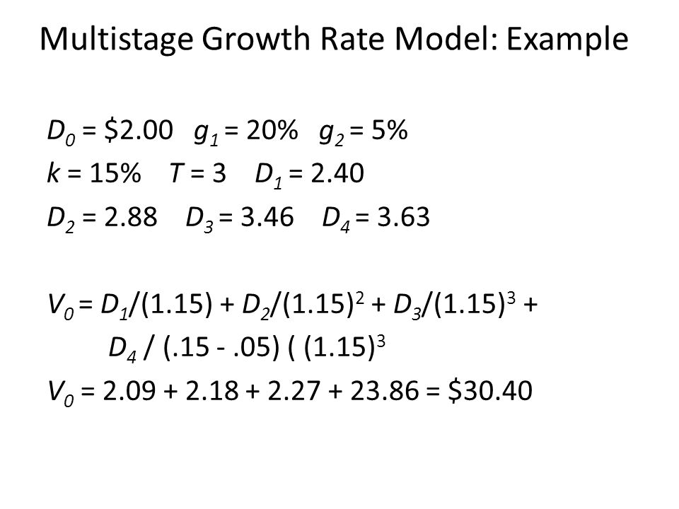 Multistage Growth Rate Model: Example