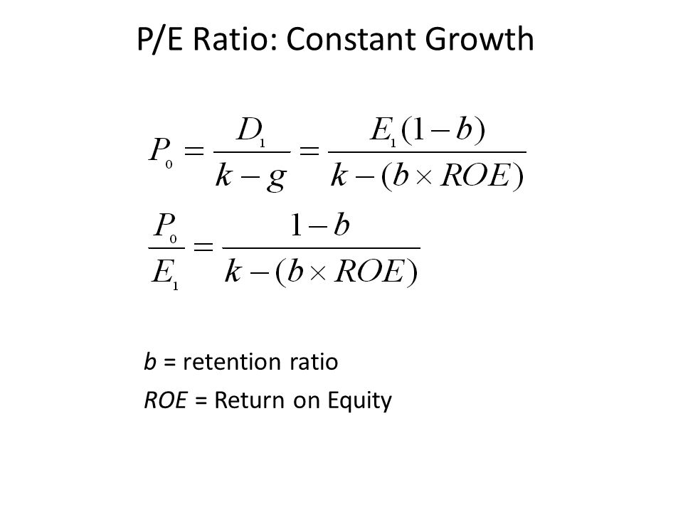 P/E Ratio: Constant Growth